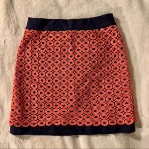 Loft coral and navy eyelet / perforated miniskirt
